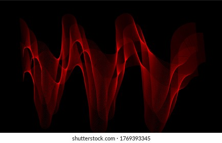 Abstract wavy red lines background soft and smooth smoke background image.abstract shapes on the white background