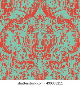 Abstract weathered damask pattern seamless vector background tile