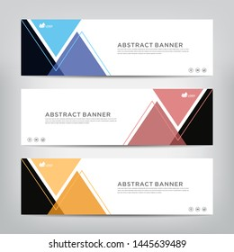 abstract web banner template  with three color options,  vector illustration