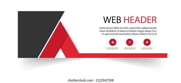Abstract Web Header Triangle Design Red Background Vector Image