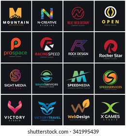 Abstract web icons set, Logotype collection of sports  , Media web technology, Automotive and racing services, vector logo template.
