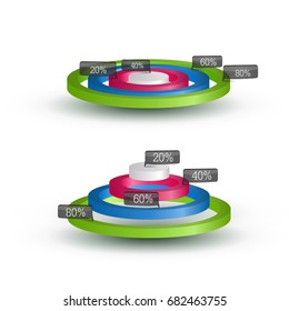 Abstract web infographic template with colorful 3d rings and percent labels isolated vector illustration