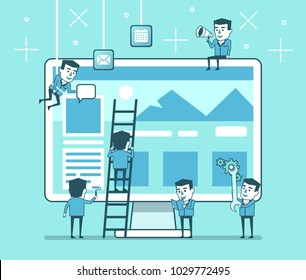 Abstract web site creation process. Small people working on web design. Web site construction team. Simple style vector illustration