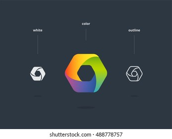 Abstract web symbol. Stylized hexagon icon.