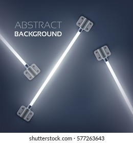 Abstract web template with fluorescent light tubes attached by metal plates vector illustration