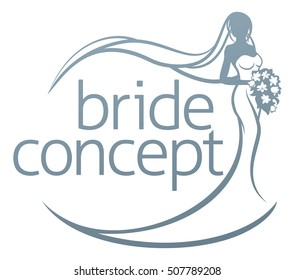 Abstract wedding design concept of bride in silhouette, in a white bridal dress gown holding a floral bouquet of flowers