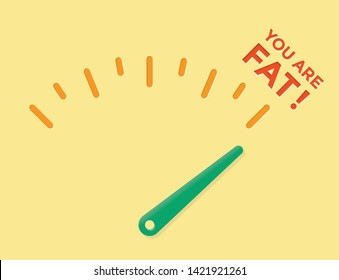 Abstract weight loss meter with arrow on You are fat! Concepts: healhy eating lifestyle motivation, unhealthy fastfood problems, overweight reduction, body mass, diets and fitness, cholesterol tests
