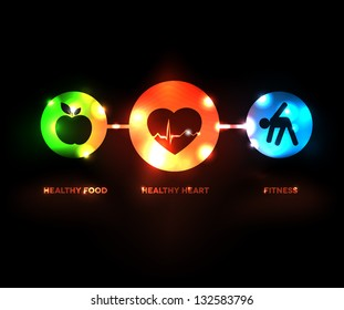 Abstract Wellness symbol. Healthy food and fitness leads to healthy heart and healthy life. Healthy eating and exercise go hand in hand with a healthy heart.