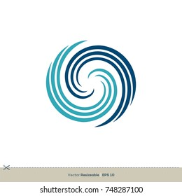 Abstract Whirlpool Vector Logo Template