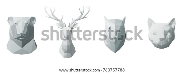 Abstract White Animals Head Geometric Low Stock Vector (Royalty Free