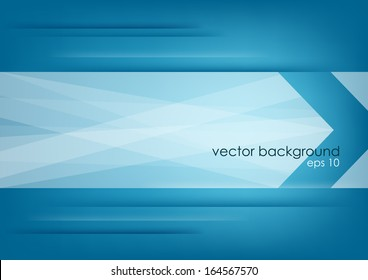 Abstract white arrow on blue horizontal background. Vector version.