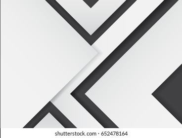 Abstract white arrows on black background with paper art style.For business template.Vector illustration.