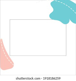 Abstract white background with black frame for text. Abstract blue, pink spots on a white background. Vector. Quote text info design. Template for social networks stories and posts.
