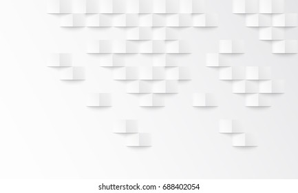 Abstract white background with brick shadow texture. Vector 3d white geometric backdrop. Simple clean white texture. 3D Vector interior wall panel pattern