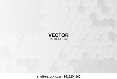 Abstract white background of Embossed surface Hexagon,Honeycomb modern pattern concept, Creative light and shadow style. Geometric mesh minimal clean gradient color for wallpaper.vector illustration