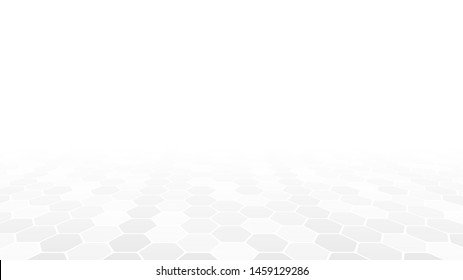 Abstract white background. Light gray hexagons in perspective. Vector illustration.
