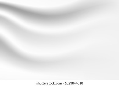 Abstract white background luxury cloth or liquid wave or wavy folds of grunge silk texture satin velvet material  elegant wallpaper design, background. Vector Illustration