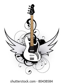 Abstract with white bass guitar
