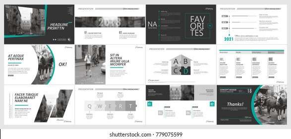 Abstract white, black presentation slides. Modern brochure cover design. Fancy info banner frame. Creative infographic element set. Classic city font. Vector title sheet model. Ad flyer style template