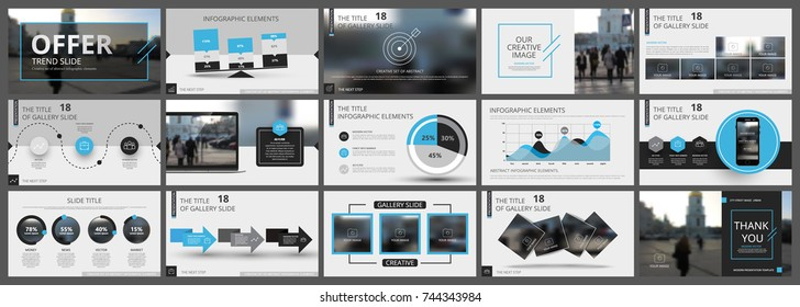 Abstract white, blue, slides. Brochure cover design. Fancy info banner frame. Creative set of infographic elements. Urban. Title sheet model set. Modern vector.  Presentation templates, corporate.