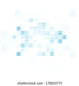 Abstract white and blue squares backdrop