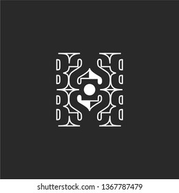 abstract white BS logotype in modern lines concept