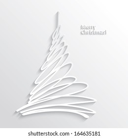 Abstract White Christmas Tree on White Background, Flat Design. Vector Illustration EPS10