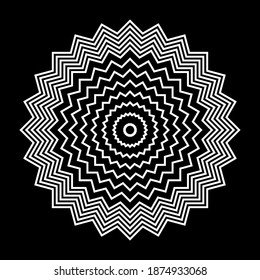 Abstract white circle zig zag lines pattern on black background. Vector art.