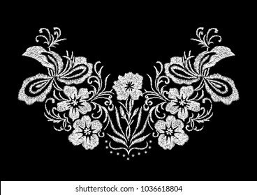 abstract white embroidery flower pattern design for the collar T-shirt , isolated vector illustration on black background