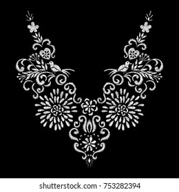 abstract white flower and bird embroidery artwork design for neckline clothing, isolated vector on black background