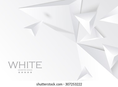 Abstract white geometric 3D background. Vector Illustration