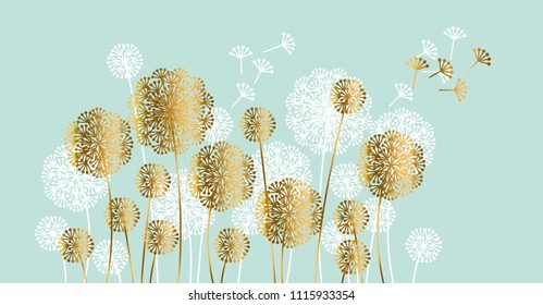 Abstract white and gold summer dandelion motif for header, card, invitation, poster, cover and other web and print design projects.