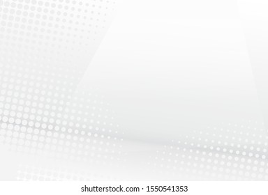 Abstract white and gray gradient background. Halftone dots design background. - vector