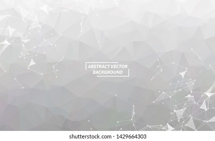 Abstract White Gray Polygonal Space Background with Connecting Dots and Lines.  Connection structure. Vector science background. Polygonal vector background. Futuristic HUD background.