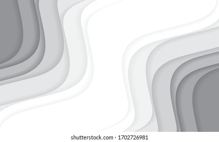 Abstract white grey tone paper cut wave curve with blank space design modern background vector illustration.