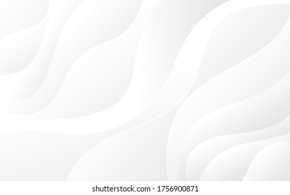 Abstract white and light gray wave modern soft luxury texture with smooth and clean vector subtle background