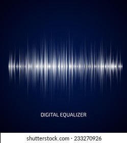 Abstract white music equalizer on dark blue background. Vector illustration