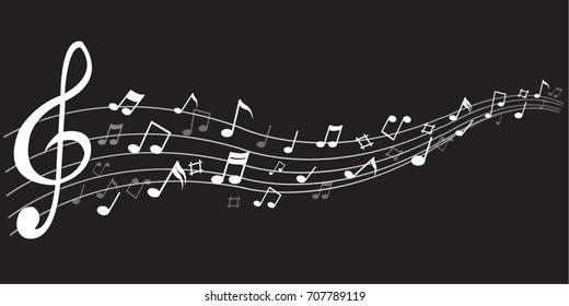Abstract  white notes music on a black background, vector illustration