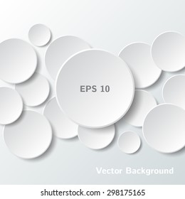 abstract white paper circles on gray background vector eps illustration