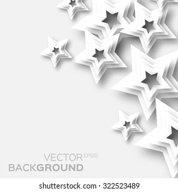 Abstract white paper stars background. 3d paper design elements.  Vector illustration eps10.