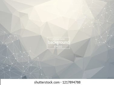 Abstract White Polygonal Space Background with Connecting Dots and Lines.  Connection structure. Vector science background. Polygonal vector background. Futuristic HUD background.