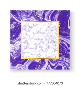 Abstract white and purple marble texture greeting card with gold square frame, place your text. Template for your designs, banner, invitation, party, birthday, wedding. Trendy vector