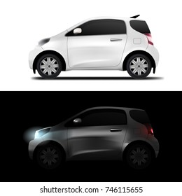 Abstract White Realistic Midget Mini Car. Day And Night. EPS10 Vector