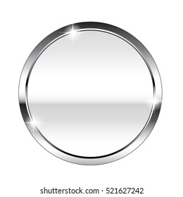 Abstract white round background in a silver frame, stylized as a mirror surface. Vector illustration, on transparent background.