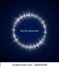 Abstract white round music equalizer with dots on dark blue background. Vector illustration