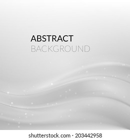 Abstract white silver background with smooth lines, vector illustration