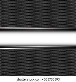 Abstract white silver on dark gray circle mesh design luxury background vector illustration.