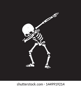 Abstract White Skeleton Dab step style on black background - Illustration