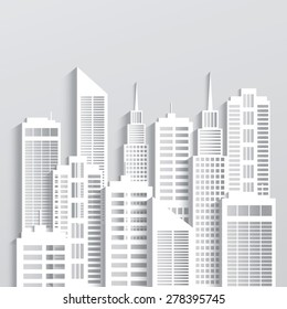 Abstract white skyscrapers made of paper. Modern city skyline building industrial paper landscape skyscraper offices.Vector Illustration