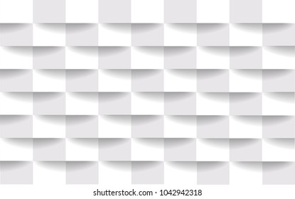 Abstract white square geometric texture background, vector illustration.